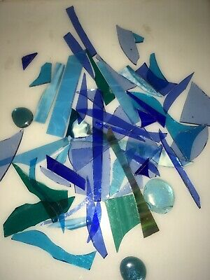 mosiac pieces. Blue glass off cuts various small shapes and colours 450g/ 1lb