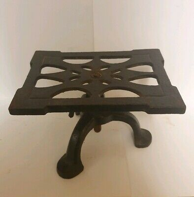 Antique Cast Iron Spong Rise and Fall Hearth Stand / Trivet