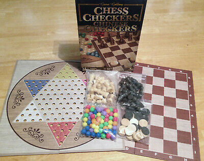 Game Gallery Chess Checkers Chinese Checkers Board Game Set New Open Box
