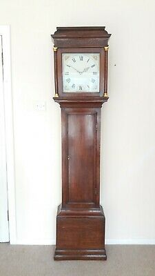 Antique 18th C oak 30 hr longcase clock with birdcage movement