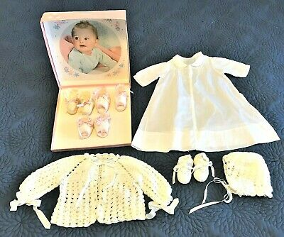 Newborn Baby Girl Clothes Vintage Gown Handmade Sweater Booties Hat Johnson Box