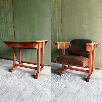 Antique Arts and Crafts metamorphic Oak 'The AdjusTable chair' table/chair