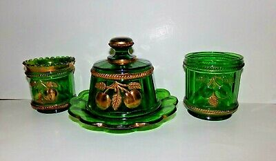 EAPG Green Glass Peach Cable Covered Butter, Spooner & Sugar by Northwood, c1910