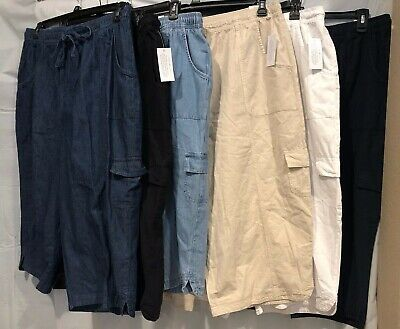 Karen Scott Women's Plus Sizes Cotton Denim Capri Pants, Blues/Black/White/Beige