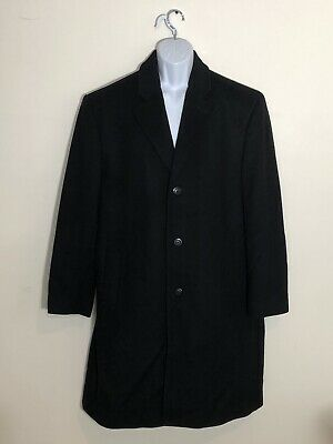 Men's Michael Kors Black Wool/Cashmere Overcoat Long Coat Size 48R 3 Buttons