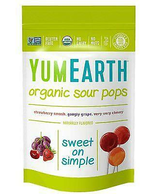 YUMEARTH Organic Lollipops Bags Super Sour 85g/14 lollipops per bag