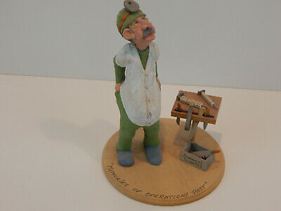 Master Carver Richard Jensen, NY Caricature Carved Wood Doctor/Surgeon Sculpture