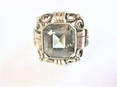 Antique Ring Real Silver with Green Stone, 7,3 G