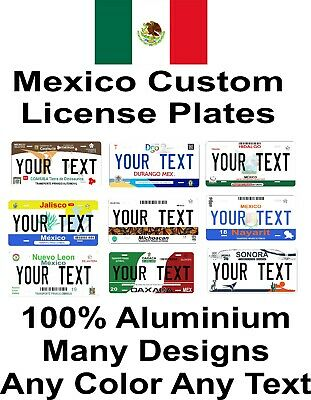 Any Mexico States Any Text Many Designs License Plate Personalized Custom Auto