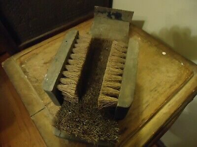 Old Primitive Antique Boot & Shoe Cleaning Brush Wooden, Metal Scraper, Bristles