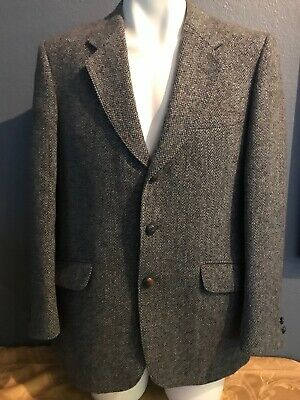 Harris Tweed VTG Mens Blazer Sports Coat Jacket Tailored By Andrew Douglas Wool