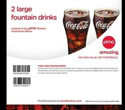 AMC Theaters (2x) Large Fountain Drinks Coke Voucher || < 1 Hr. Delivery ||