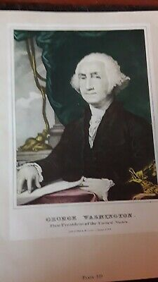 """1978 Vintage /""""WASHINGTON TAKING LEAVE/"""" TOASTING CURRIER /& IVES COLOR Lithograph"""