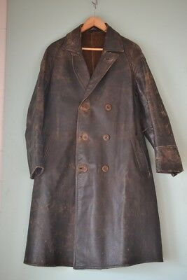 Antique vintage army military leather jacket trench coat war