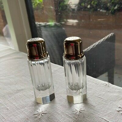 Pair Art Deco Lead Crystal Salt Pepper Shakers with Silver Plated Lids as found