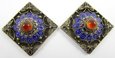 Exquisite Filigree Sterling Chinese Export Enamel Carnelian Earrings
