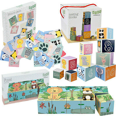 Kids Cardboard Games Nesting & Stacking Blocks Set, Puzzle Set & Memory Game