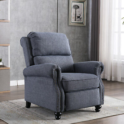 Contemporary Recliner Chair Padded Seat Push Back Single Sofa w/ Rivet Decor USA