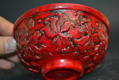 Collectible China Old Coral carve goldfish decorate Bowl Exorcism Lucky Bowl