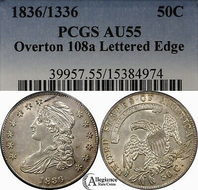 1836/1336 50c Capped Bust Half Dollar PCGS AU55 O-108a (Overdate) rare old coin