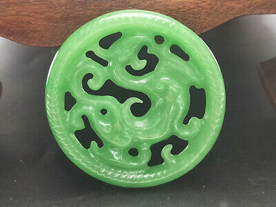 5A Delicate Chinese Hand-carved Jadeite jade pendant green Round ancient dragon