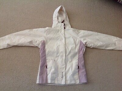 Decathlon Quechua girls coat age 12 cream and lilac waterproof hooded
