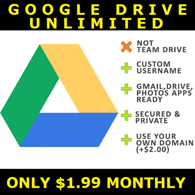 Google Drive Unlimited Storage Monthly (Not Team/Shared Drive)