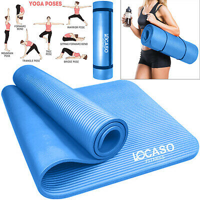 Yoga Mat for Pilates Gym Exercise Carry Strap Thick Large Blue Comfortable Mats
