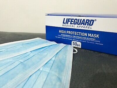 100pc Disposable Medical Dental 3PLY Dust Proof Face Mask Respirator Blue