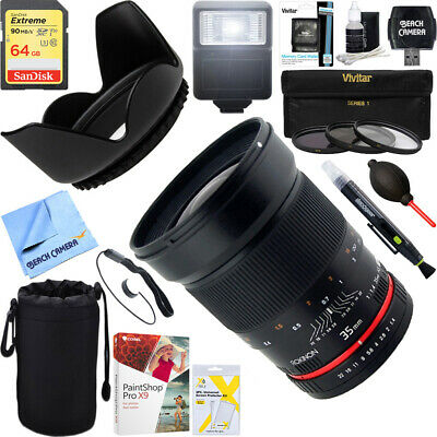 Rokinon 35mm F/1.4 AS UMC Wide Angle Lens for Nikon + 64GB Ultimate Kit