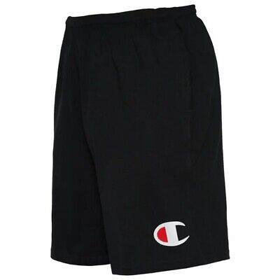 Champion Men's Jersey Cotton Shorts With Pockets Black Big C Logo