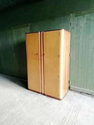 Mid century 1950's Maple and Teak Wardrobe Golden key Furniture by Palatial