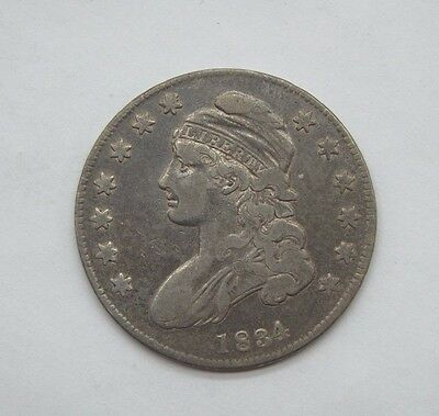 1834 Capped Bust/Lettered Edge SMALL Date SMALL Letters Half $ FINE Silver 50c