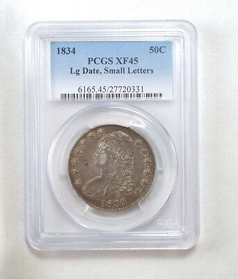 1834 Capped Bust/Lettered Edge Silver Half $ w/Lrg Date/Small Letters PCGS XF 45