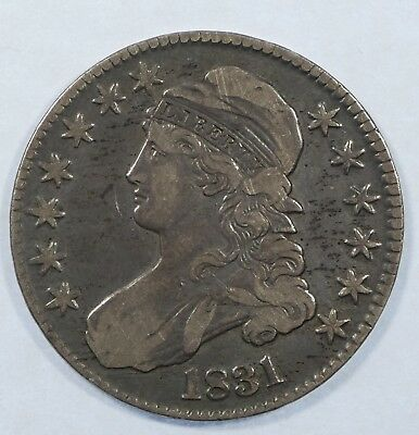 1831 Capped Bust Lettered Edge Half Dollar VERY FINE Silver 50c