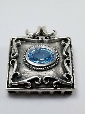 Men's Women's Sterling Silver 925 Charm / Pendant With Blue Oval Stone #80402