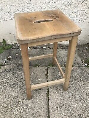 Vintage Wooden  School Lab STOOL