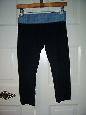 SO girl's black cropped yoga pants wide blue designed waist band size S