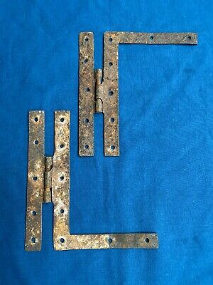 2 Antique Hand Forged Wrought Iron H L Hinges Hardware Reclaimed