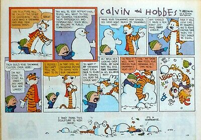 Calvin and Hobbes by Watterson - large half-page Sunday comic - Jan. 29, 1995