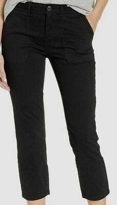 $295 Sanctuary Womens Black Stretch Mid-Rise Crop Zip-Fly Casual Chino Pants 29W