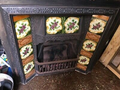 Fireplace insert cast iron with tiles antique