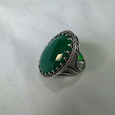 Ancient Victorian Sterling Silver Ring Beautiful Jade Stone Rare Retro vintage