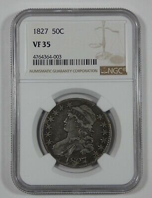 1827 Capped Bust/Lettered Edge Half Dollar CERTIFIED NGC VF 35 Silver 50c