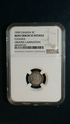 1909 Canada FIVE CENTS NGC VF MINT ERROR  SILVER 5C Coin PRICED TO SELL NOW!