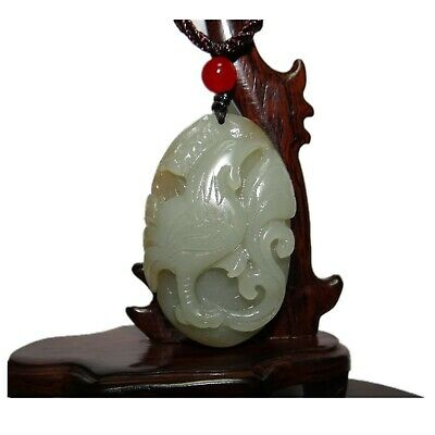 "2.1"" China Certified Nature Hetian Nephrite Jade Auspicious Rooster Pendants4836"