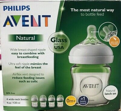 Philips Avent Natural Glass Baby Bottles 4oz 4pk SCF010/47 Free Shipping New