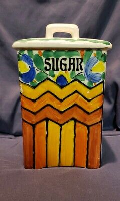 Vintage/Antique Hand Painted Ditmar Urbach Czechoslovakia Sugar Canister