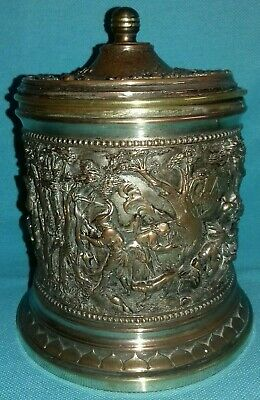 Fabulous Antique 19thC A B Paris French Copper Deep Relief Tobacco Jar Tea Caddy