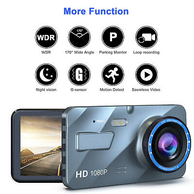 HD 1080P Dual Lens 4'' Car DVR Front and Rear Camera Video Dash Cam Recorder 170